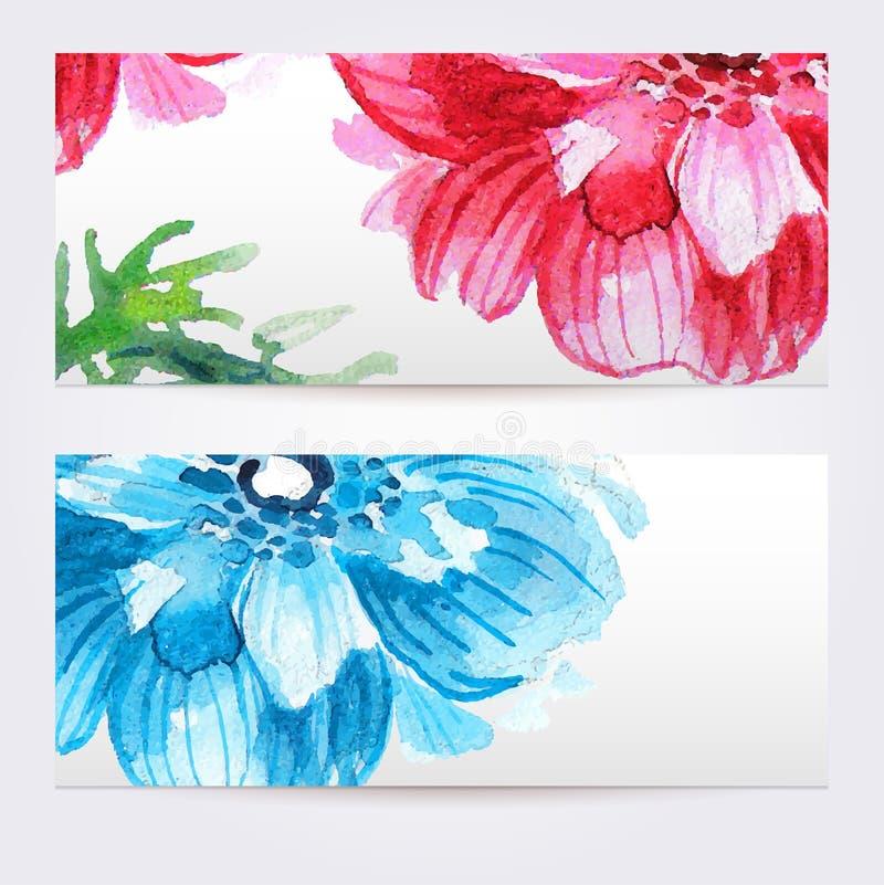 Twee bloemenwaterverfbanners met anemonen vector illustratie