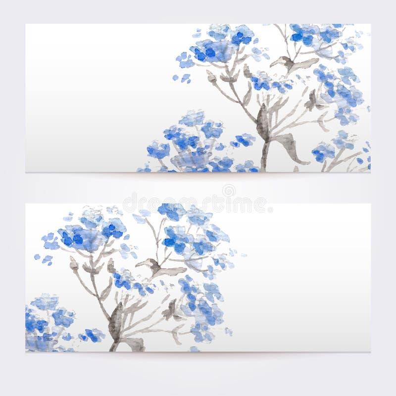 Twee bloemenwaterverfbanners met boeket van wilde bloemen vector illustratie