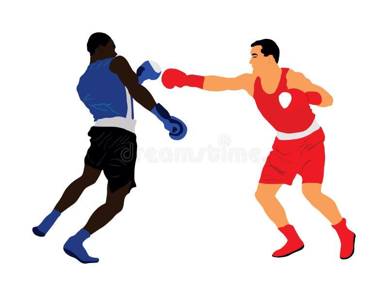 Twee boksers in rings vectordieillustratie op witte achtergrond wordt geïsoleerd stock illustratie