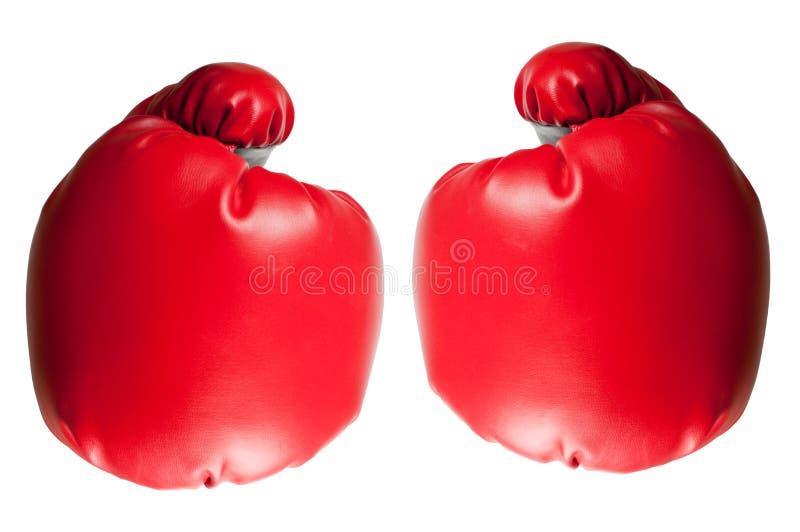 Twee bokshandschoenen stock afbeeldingen