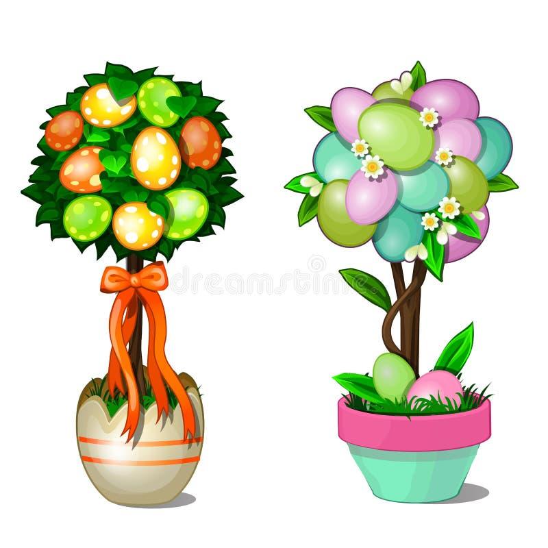 Twee bomen met bladeren en kleurrijke paaseieren in gestileerde potten Symbool en decoratie voor vakantie Vector illustratie royalty-vrije illustratie