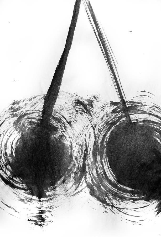 Twee borstel-getrokken cirkels en twee lijnen die hen naar voren komen royalty-vrije stock afbeelding