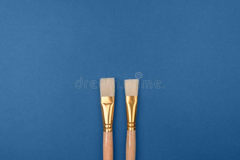 Twee borstels is een warme kleur met een natuurlijke borstel van het varkenshaar op de blauwe koude achtergrond stock afbeelding