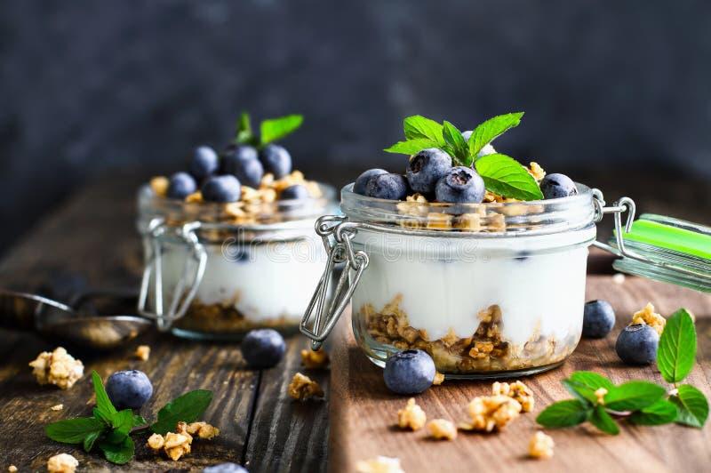 Twee Bosbessenparfaits met verse bessen Griekse Yoghurt Granola en Verse Munt stock afbeeldingen