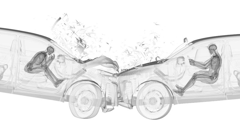 twee in botsing komende auto's stock illustratie