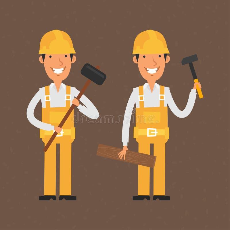 Twee bouwers die hamer en het glimlachen houden vector illustratie