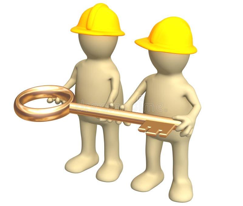 Twee bouwers, die in handen een gouden sleutel houden vector illustratie