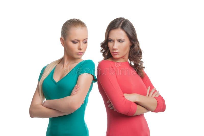 Twee boze vrouwen. stock afbeelding