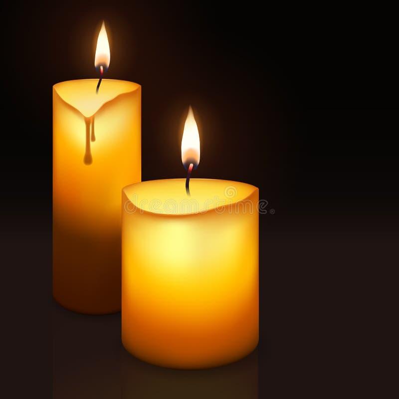 Twee brandende kaarsen royalty-vrije illustratie