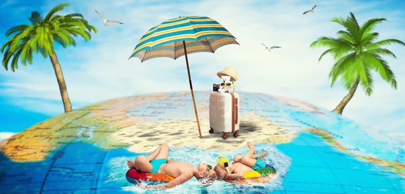Twee broers gaan op een reis Zij reizen in hete landen, zwemmen, ontspannen royalty-vrije stock fotografie