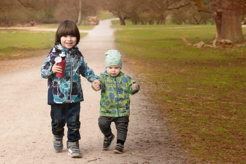 Twee broers lopen hand in hand in park stock foto