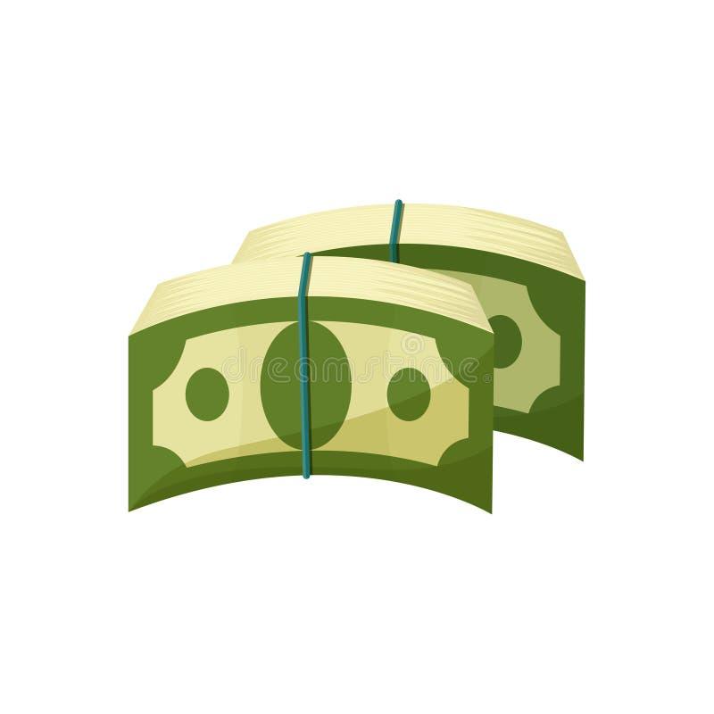 Twee bundels van Amerikaanse die bankbiljetten met blauw elastiekje worden gebonden Groene dollars Papiergeld Inkomens of Salaris vector illustratie