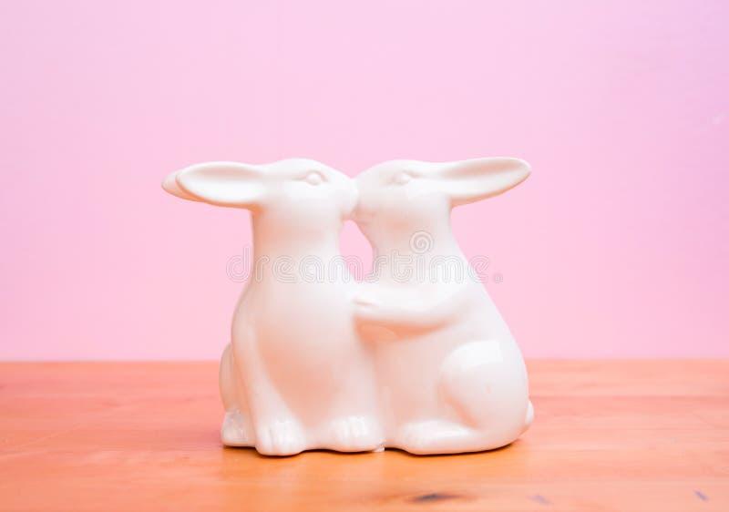 Twee bunnys het kussen royalty-vrije stock foto