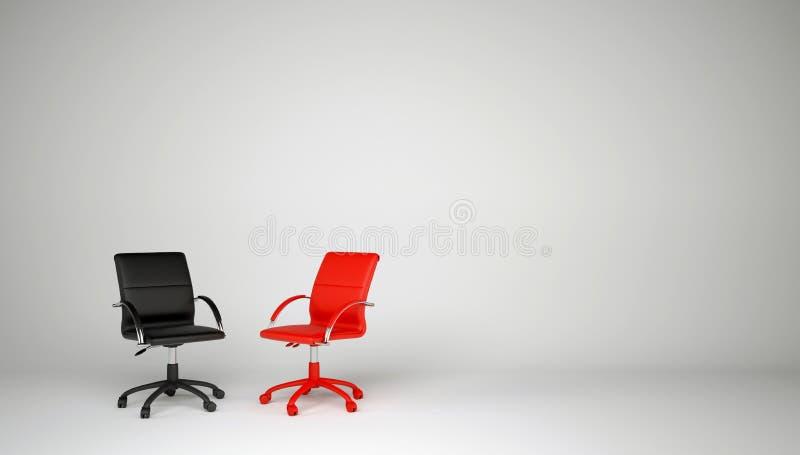 Twee bureaustoelen. Het concept dialoog vector illustratie