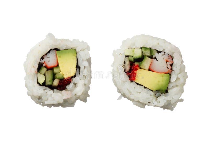 Twee Californië rollen sushi op witte hoogste mening worden geïsoleerd die als achtergrond royalty-vrije stock afbeeldingen