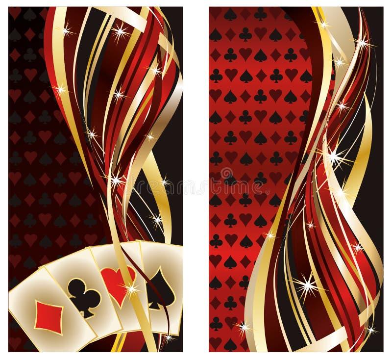 Twee casinobanners met pookelementen vector illustratie