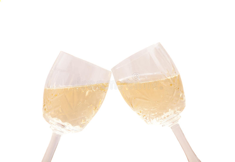 Twee champagneglazen Geïsoleerd op wit royalty-vrije stock foto