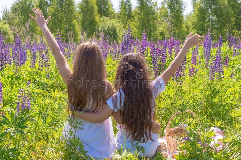 Twee charmante jonge meisjes met lang die haar zitten het koesteren, handen omhoog op het gebied met bloemen worden opgeheven Mei royalty-vrije stock foto's