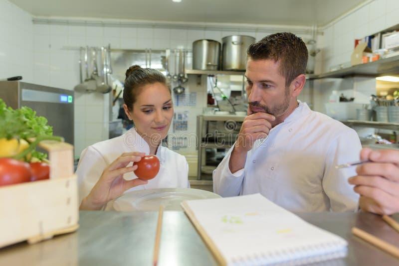 Twee chef-koks in commerciële keuken royalty-vrije stock foto