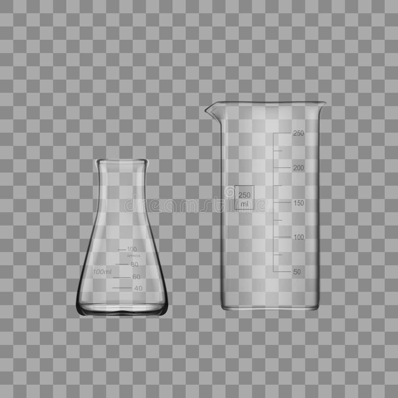 Twee Chemische Laboratoriumglaswerk of Beker De Lege Duidelijke Reageerbuis van het glasmateriaal stock illustratie