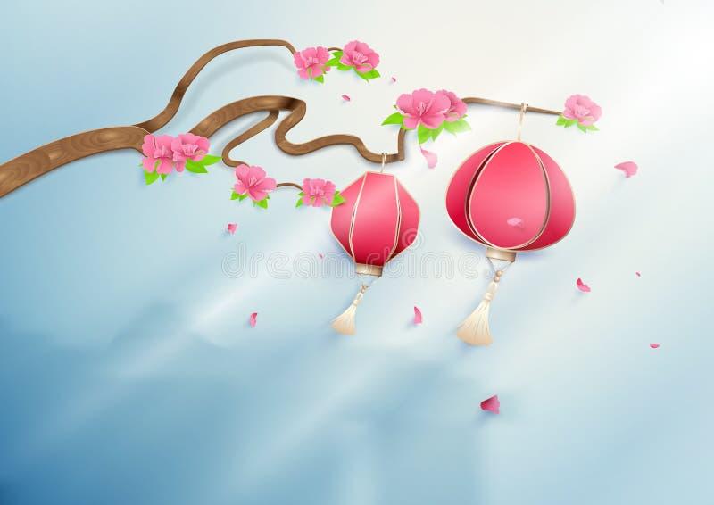 Twee Chinese lantaarns die op bloementak roze pioenen hangen stock illustratie