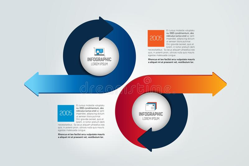 Twee cirkelpijlen in tegenovergestelde infographic richting, grafiek, regeling, diagram vector illustratie