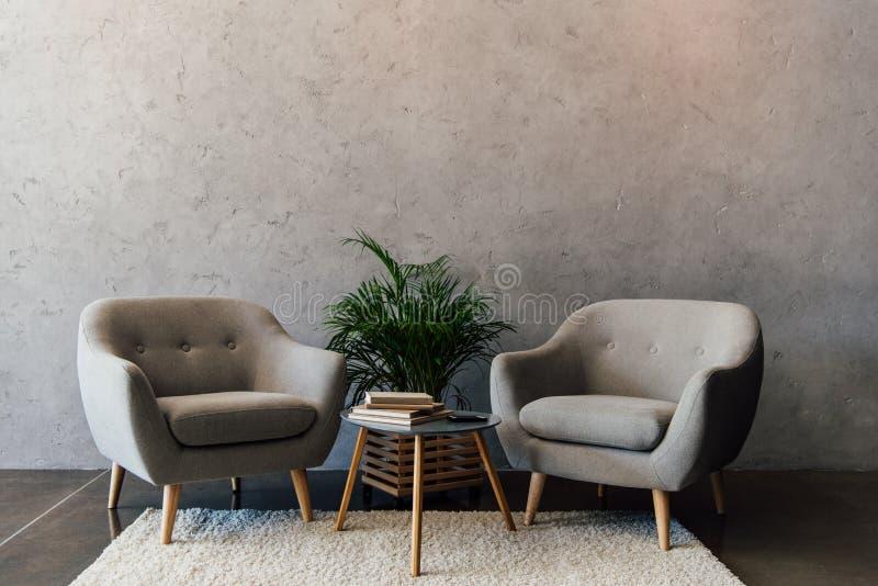 Twee comfortabele grijze leunstoelen die zich op wit tapijt bevinden royalty-vrije stock afbeeldingen