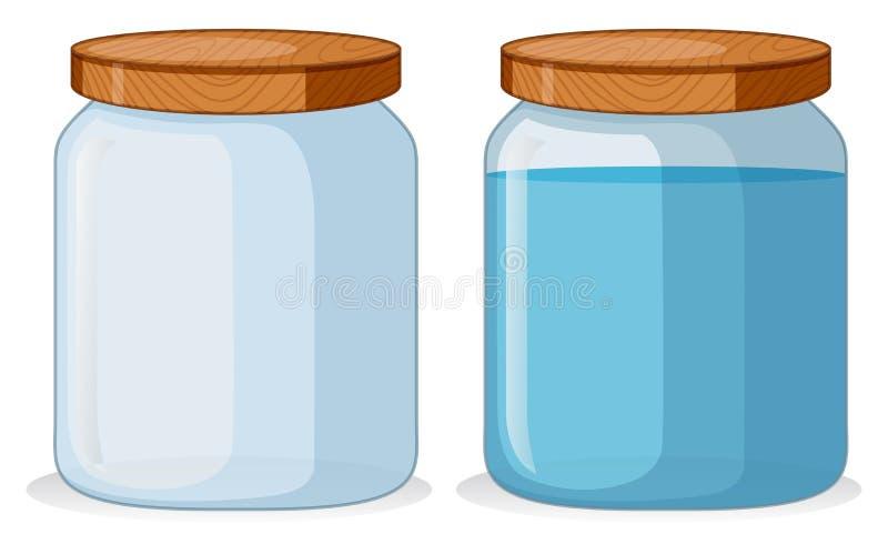 Twee containers met en withouwater stock illustratie