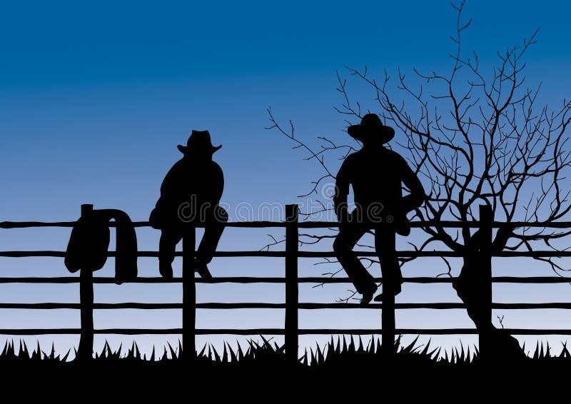 Twee cowboys die op omheining zitten stock illustratie