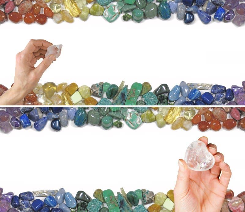 Twee Crystal Healing Website Banners stock afbeelding