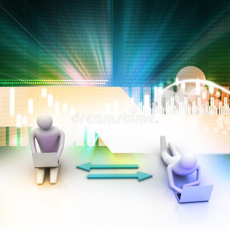 Twee 3d mensen die laptops houden worden verbonden aan pijlen stock illustratie