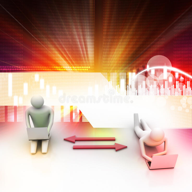 Twee 3d mensen die laptops houden worden verbonden aan pijlen royalty-vrije illustratie