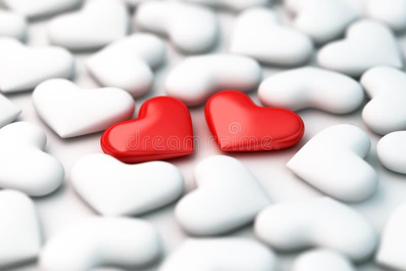 Twee 3d rode harten op witte hartenachtergrond royalty-vrije illustratie