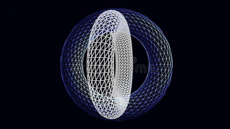 Twee 3D roterende ringenkaders op zwarte achtergrond, naadloze lijn animatie Mooie witte en blauwe volumecirkels van stock illustratie
