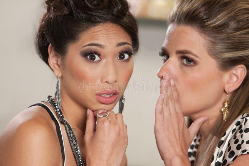 Twee Dames die Geheimen vertellen royalty-vrije stock fotografie