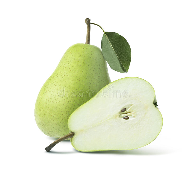 Twee de groene peren gehele helft op witte achtergrond stock fotografie