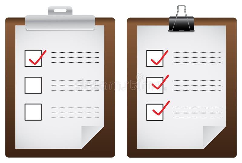Twee de raadspictogrammen van de controlelijst (vector) royalty-vrije illustratie