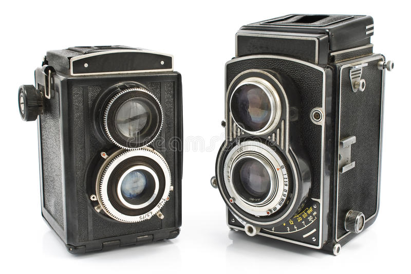 Twee de uitstekende camera van de twee lensfoto royalty-vrije stock afbeeldingen