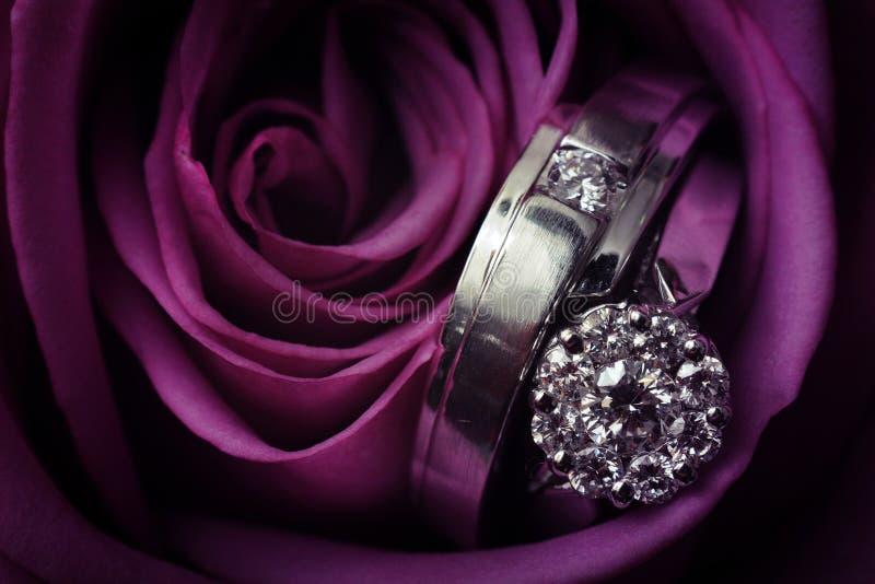 Twee diamanten bruiloftringen dat tot bruid en bruidegom met purple behoort toenam stock afbeelding