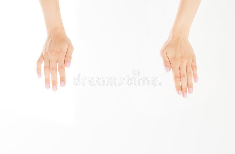 Twee dichte die vrouwenhanden op witte achtergrond worden geïsoleerd Vrouwelijke wapens die onzichtbare punten houden De ruimte v stock foto