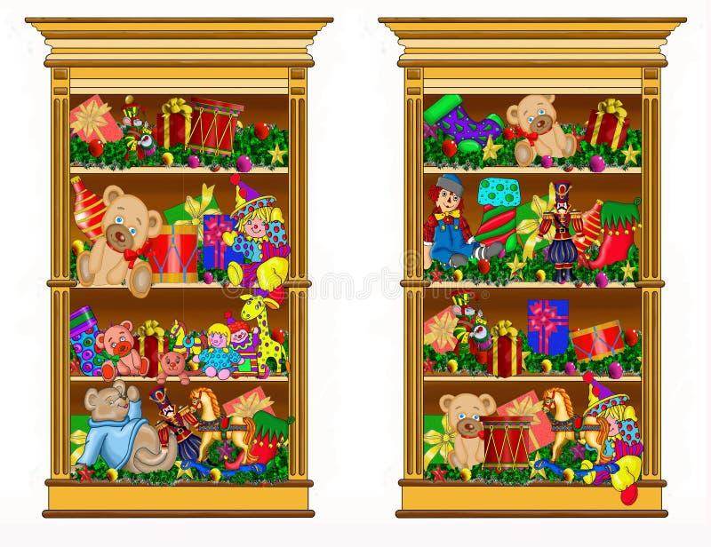 Twee die boekenkasten met giften worden gevuld vector illustratie