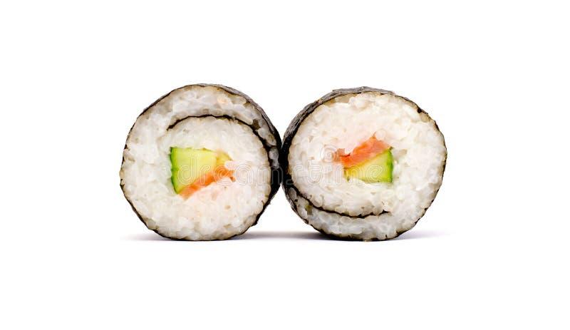 Twee die broodjessushi op een witte achtergrond worden geïsoleerd royalty-vrije stock afbeelding