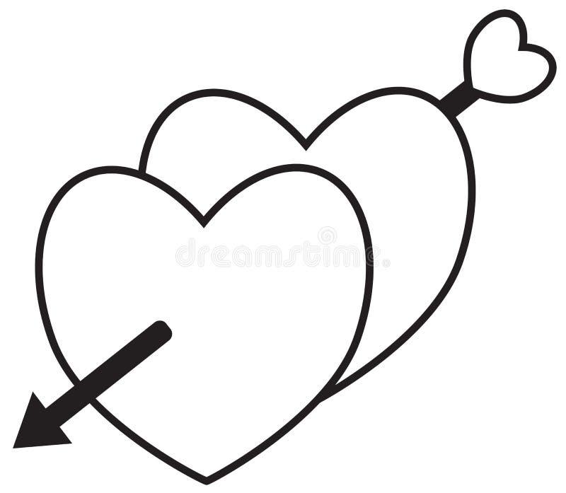 Twee die harten met een pijl worden gekruist door cupido wordt geschoten vector illustratie
