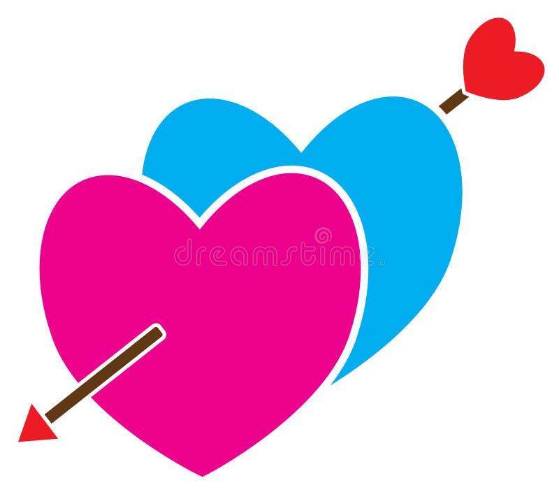 Twee die harten met een pijl worden gekruist door cupido wordt geschoten stock illustratie