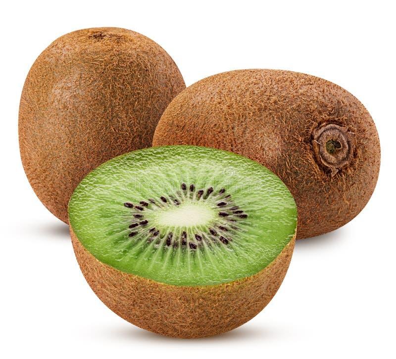 Twee die kiwifruit één in de helft wordt gesneden stock foto