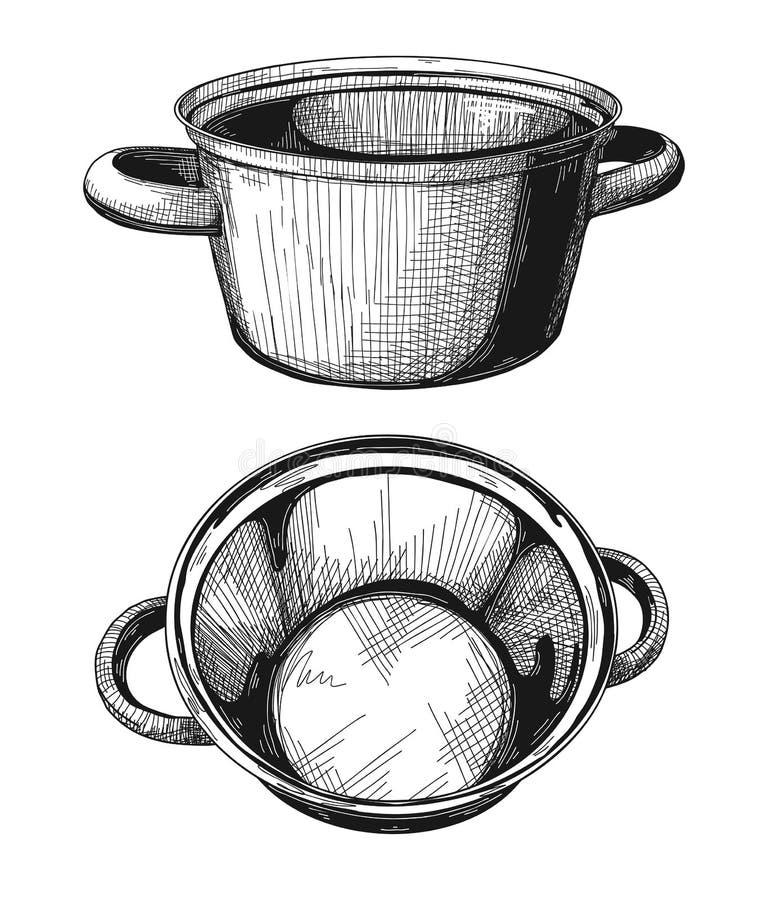 Twee die Pannen op witte achtergrond worden geïsoleerd Vector illustratie royalty-vrije illustratie