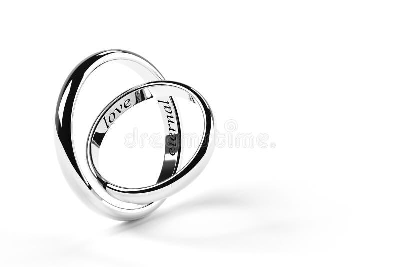 Twee die ringen met eeuwige liefde worden gegraveerd vector illustratie