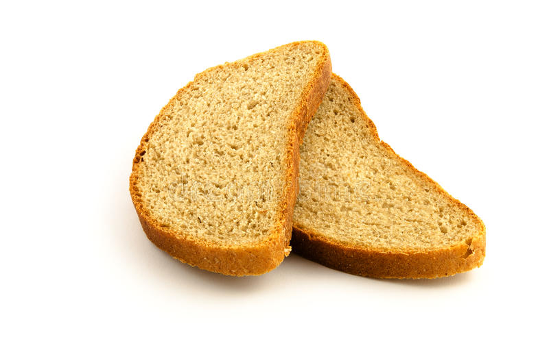 Twee die stukken van brood op wit worden geïsoleerd stock foto