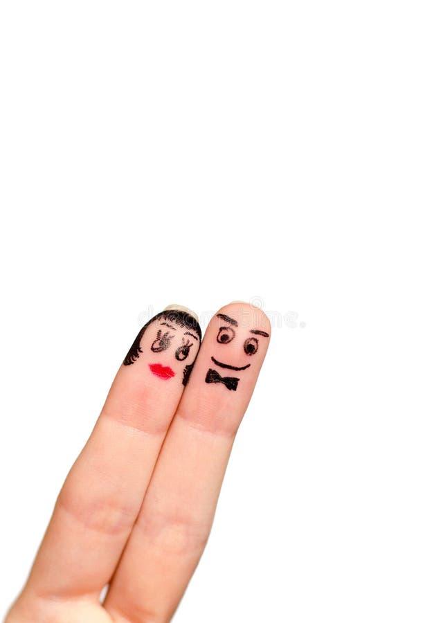 Twee die vingerspaar op witte achtergrond wordt geïsoleerd royalty-vrije stock fotografie