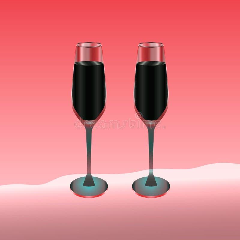 Twee die wijnglazen met rode drank op rood worden gevuld vector illustratie